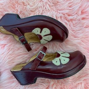Burgundy With White Flower Spring Step Mary Janes